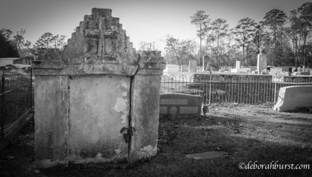 Mandeville old tomb fence b&w wm