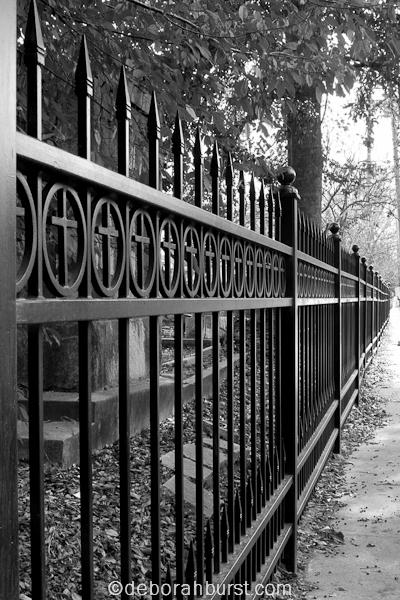 Covington cemetery gate cover shot b&w watermark